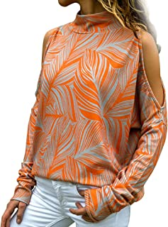 Pevor Womens Casual Shirts Long Sleeve Cold Shoulder Geometric Print Pullover Sweatshirts Plain Tunic Tops Blouse