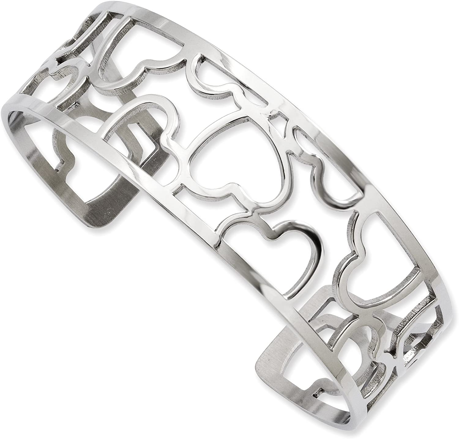 Stainless Steel Hearts Cuff Bangle