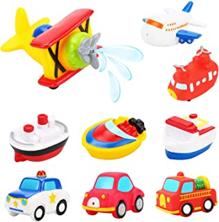 PHOGARY 9PCS Baby Bath Toy, Rubber Floating Squirt Airplane / Boat / Car Water Squirters, Beach and Pool Party Favor for Kids, Toddlers, Girls and Boys