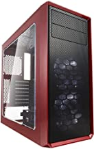 Fractal Design Focus G - Mid Tower Computer Case - ATX - High Airflow - 2X Silent ll Series 120mm White LED Fans Included - USB 3.0 - Window Side Panel - Red