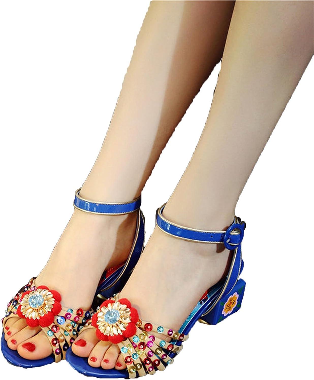 Runningsun Women HighHeel Sandals Painted Flowers Glitter OpenToed Sandals Plus Size 3443