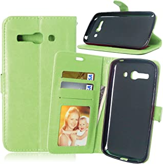 YHUISEN Solid Color Premium PU Leather Wallet Magnetic Buckle Design Flip Folio Protective Case Cover with Card Slot/Stand for Alcatel One Touch Pop C9 7047D ( Color : Green )