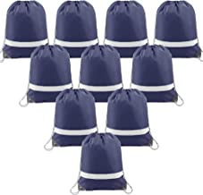 Drawstring Backpack Bags Reflective 10 Pack