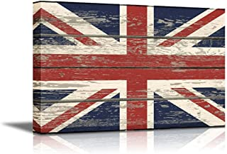 wall26 - Canvas Prints Wall Art - Flag of UK/Union Jack on Vintage Wood Board Background Stretched Canvas Wrap. Ready to Hang - 16