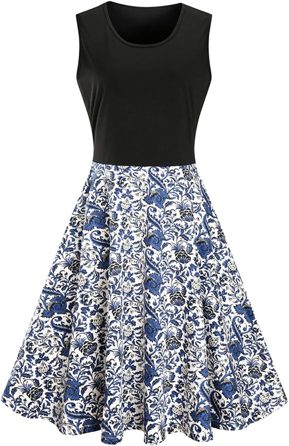 Aibwet Women's Fit and Flare Floral Print Sleeveless Summer Beach ALine Party Evening Cocktail Swing Dress