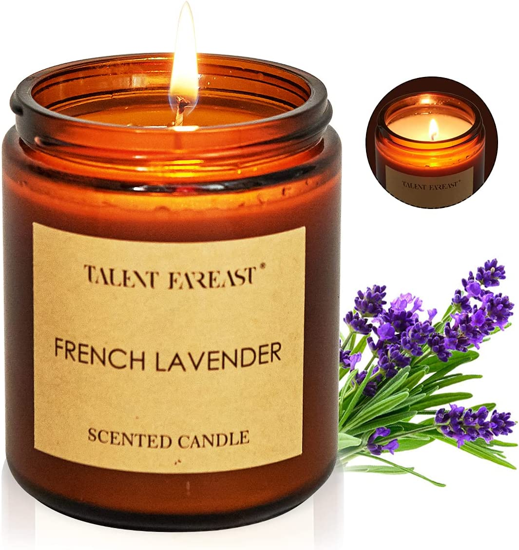 Candles for Home Scented, 7oz French Lavender Aromatherapy Candles Scented with Long Lasting Burning, Highly Home Scented Candles for Stress Relief Relaxation, Jar Candle Gifts for Women and Men