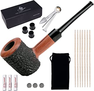 Capo Lily Tobacco Pipes, Handmade Carved Smoking Pipe with Accessories(Scraper/Filter Element/Filter Ball/Pipe Tip Grips/Gift Box/Bag)