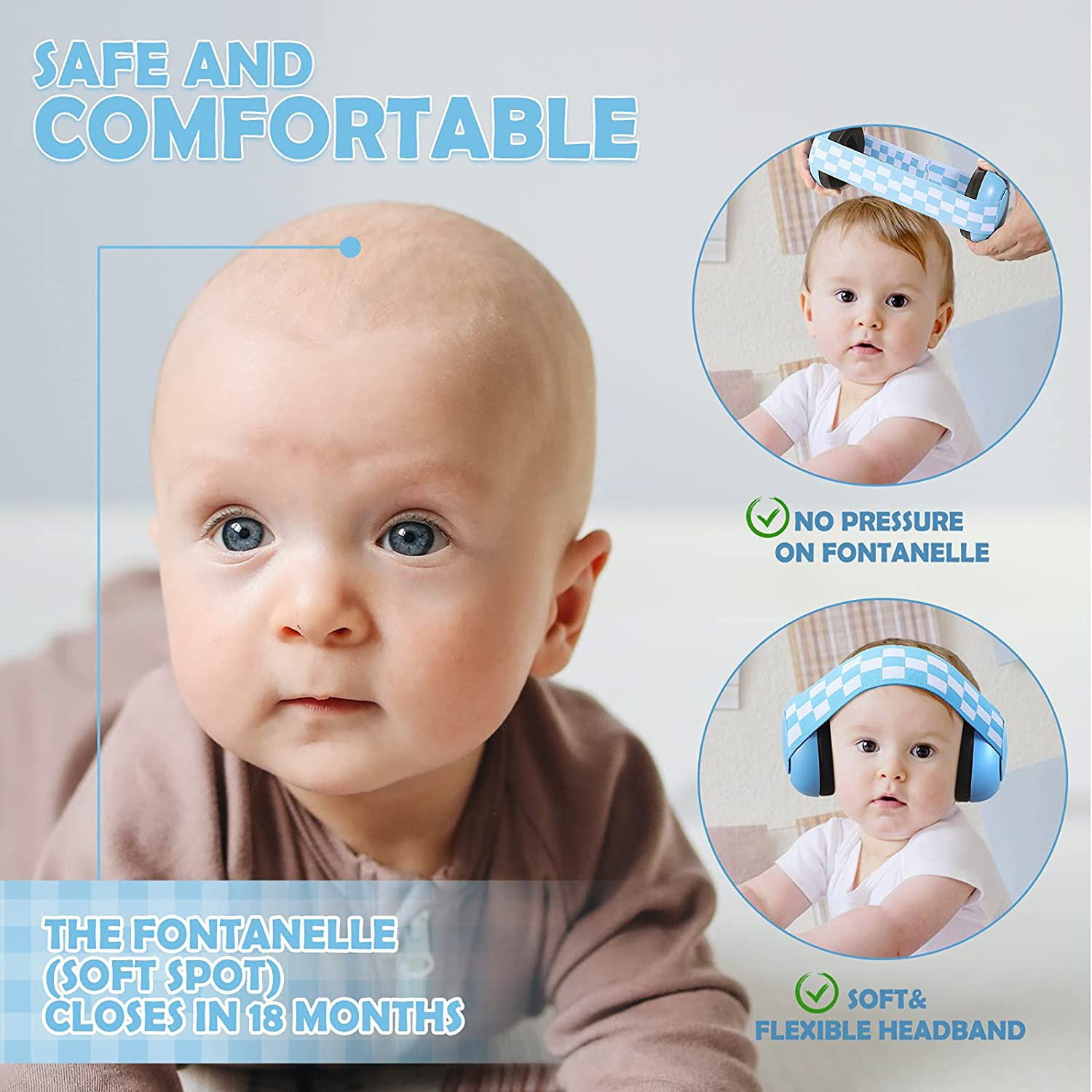 3 - 24 Months Baby Ear Protection Headphones Infant Adjustable Noise Cancelling Earmuffs for Toddler Kids with a Cloth Bag (Blue)