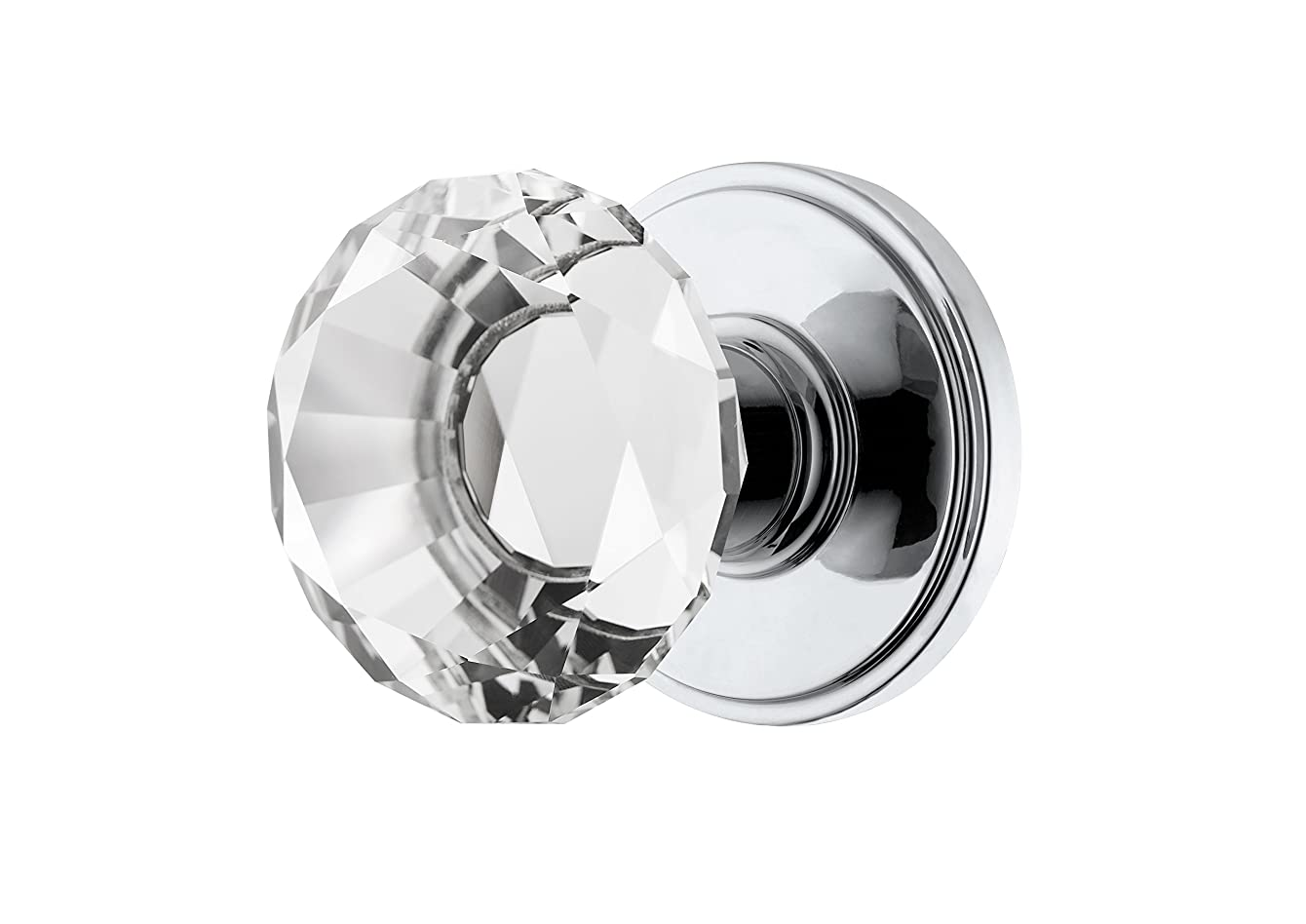 Decor Living, AMG and Enchante Accessories, Diamond Crystal Door Knobs with Lock, Privacy Function for Bed and Bath, Venus Collection, Polished Chrome