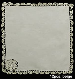 Creative Linens Crochet Lace Napkin Set Beige 100% Cotton, 12 Pieces