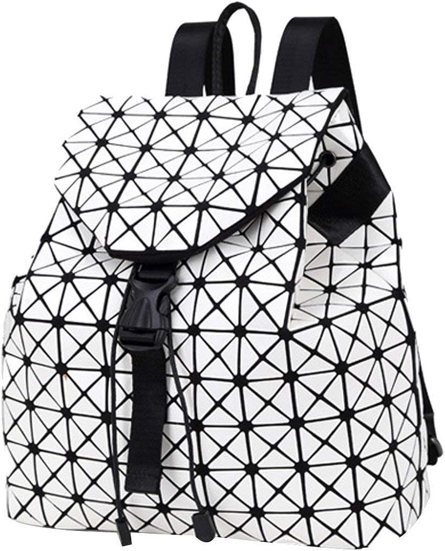 Huasen Evening Bag Ladies Fashion Soft Leather Laser Backpack College Rucksack Shoulder Bag Multicolor Party Handbag (color   White, Size   M)