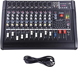 AW 10 Channel Professional Powered Mixer with USB Slot Power Mixing 110V