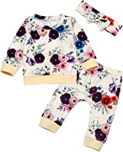 Toddler Infant Baby Girl Clothes Long Sleeve Floral Sweatshirt Top+Pants+Headband Outfits Set