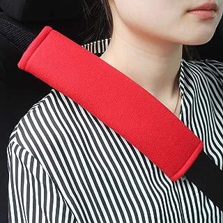 GAMPRO Car Seat Belt Pad Cover, 2-Pack Soft Car Safety Seat Belt Strap Shoulder Pad for Adults and Children, Suitable for Car Seat Belt, Backpack, Shoulder Bag(RED)