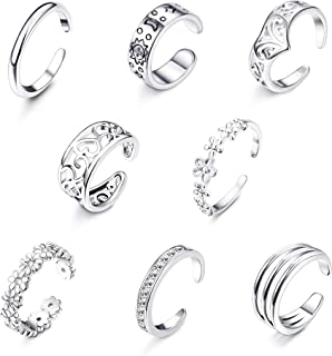 Jstyle 8Pcs Adjustable Toe Rings for Women Girls Various Types Band Knuckle Ring Set Women Gift Jewelry