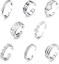 Jstyle 8-12Pcs Adjustable Toe Rings for Women Girls Various Types Band Open Toe Ring Set Women Gift Jewelry