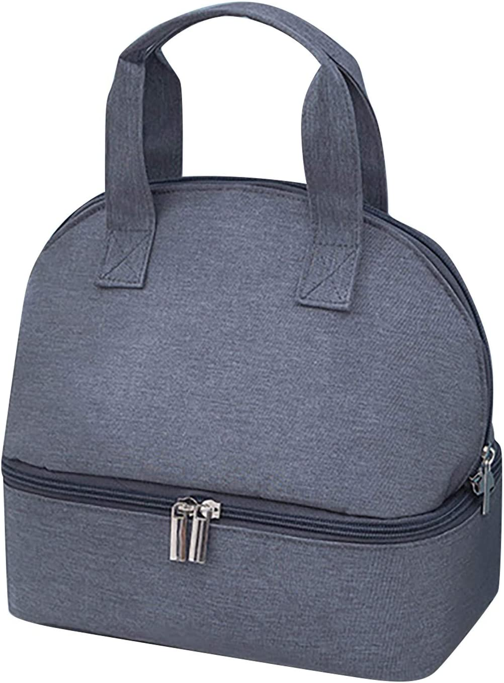 Double Compartment Lunch Bag for Women & Kids Insulated Tote Lunch Bag Waterproof Leakproof Lunch Bag with Zipper (Gray)