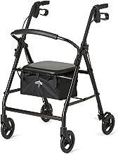 Medline Aluminum Rollator Walker with Seat, Folding Mobility Rolling Walker has 6 inch Wheels, Black