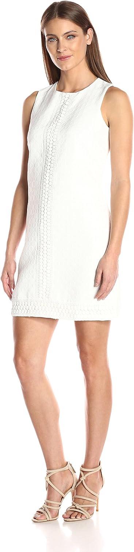 London Times Womens Sleeveless Round Neck Jacquard Shift Dress Dress