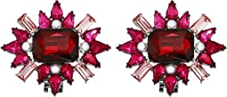 Simulated Ruby Flower Cluster Design Shoe Clips