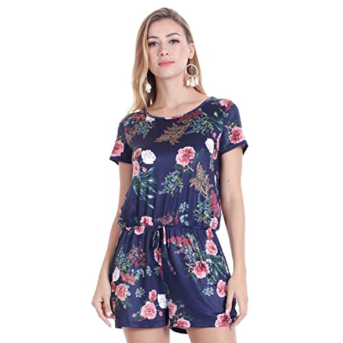 f9eac61f1e8 OUMAL Women Cute Rompers Halter Neck Floral Print Backless Short Beach Boho  Summer Jumpsuits with Long