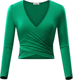 7cf3cdee48b VETIOR Women's Deep V Neck Long Sleeve Unique Slim Fit Coss Wrap Shirts  Crop Tops
