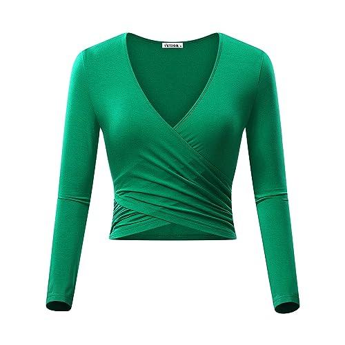 7fc6cbd8f90186 VETIOR Women's Deep V Neck Long Sleeve Unique Slim Fit Coss Wrap Shirts  Crop Tops
