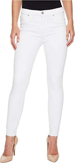 Hudson Barbara High-Waist Ankle w/ Raw Hem Super Skinny Jeans in Optical White
