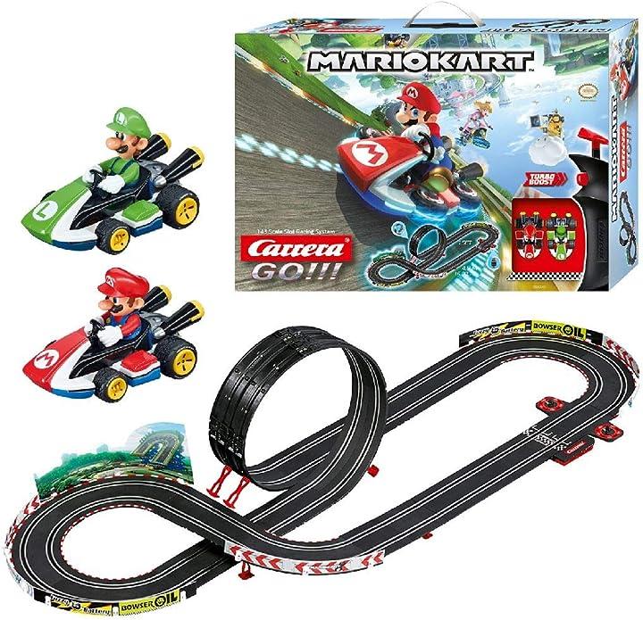 Pista da corsa super mario kart due macchinine con mario e luigi carrera toys adatto bambini di 6 anni 20062491