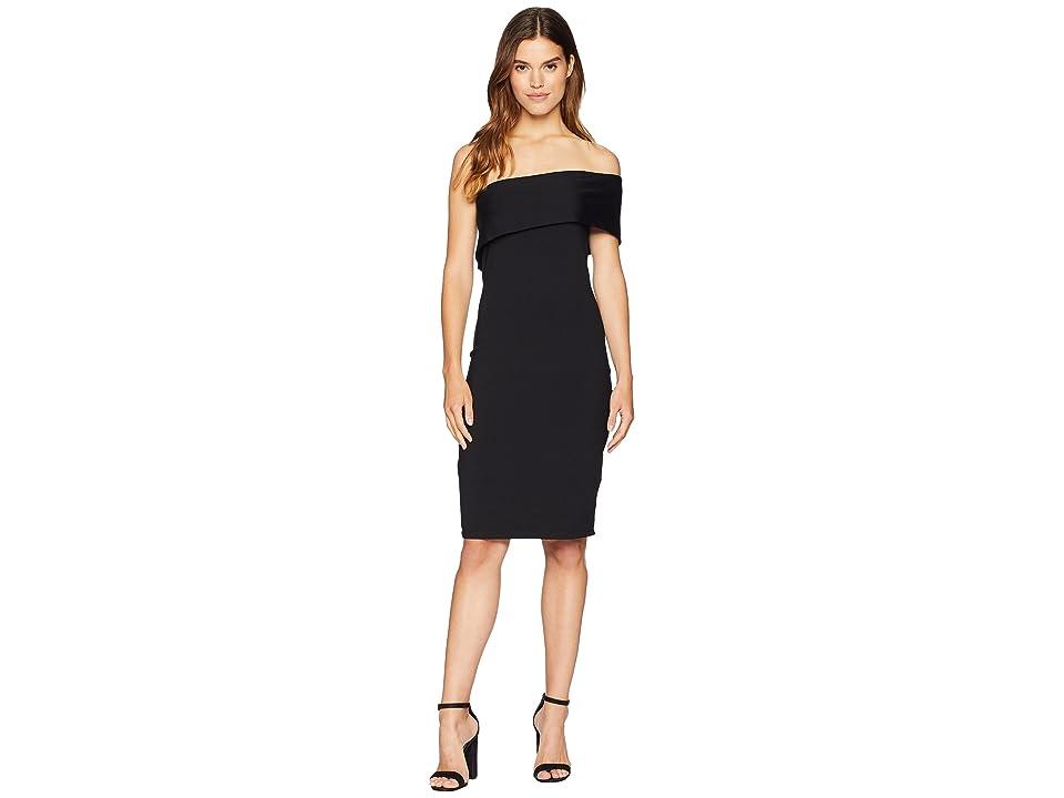 Susana Monaco Adriana One Shoulder Fold-Over Dress (Black) Women