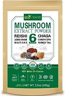 ECO-TASTE 6 Blend Mushroom Extract Powder 100g Beta-D-Glucan 30%,USDA Organic, Lions Mane, Reishi, Cordyceps, Chaga, Turke...