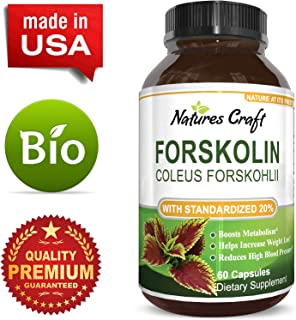 Natures Craft Pure Forskolin Weight Loss Supplement Best Coleus Forskohlii Weight Loss Pills for Women & Men - Natural Fat Burner Standardized 20% Forskolin Extract 60 Capsules