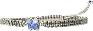 Butterfly SWAROVSKI bracelets with Crystal Line and Handmade Macrame Around, In Different Colors, Butterfly Size is 10mm or (0.39''), Easily Fit for Any Sizes for Women
