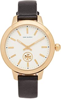 Tory Burch Women's The Collins Leather Watch, Gold/Ivory/Black, One Size