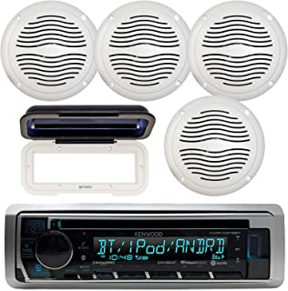 "Kenwood KMR-D368BT Marine in-Dash Radio Bluetooth Receiver Bundle Combo with 2 Pairs of Magnadyne AquaVibe WR45W 5"" Marine Hot Tub Outdoor Waterproof Speaker, Waterproof Receiver Shield Cover"