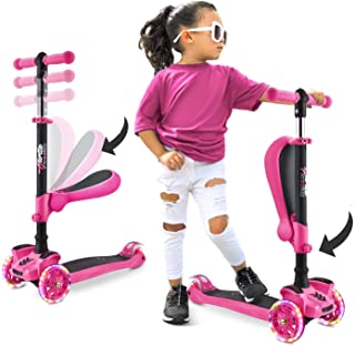 3 Wheeled Scooter for Kids - Stand & Cruise Child/Toddlers Toy Folding Kick Scooters w/Adjustable Height, Anti-Slip Deck, ...