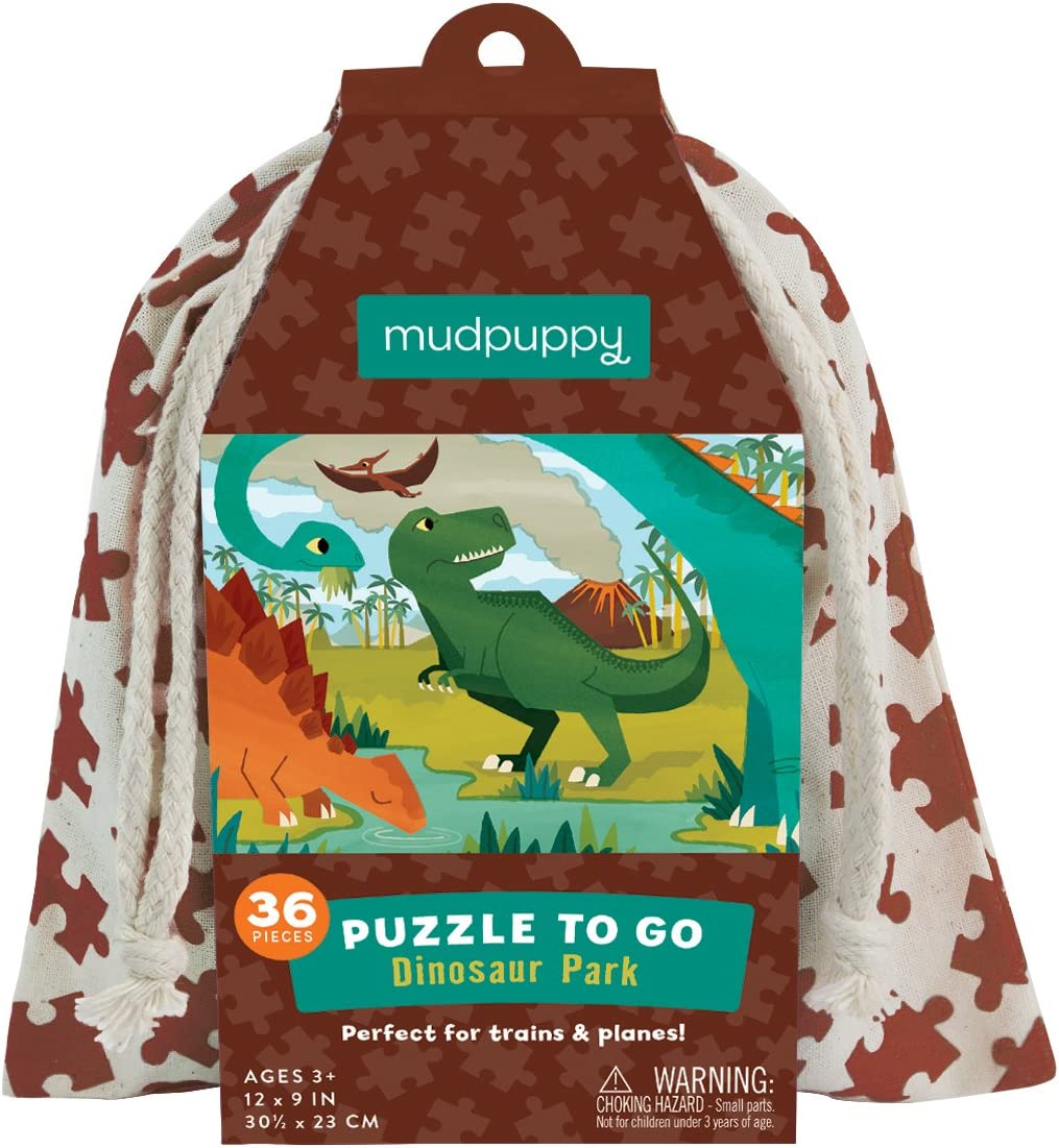 """Mudpuppy Dinosaur Portland Mall Park Puzzle To 36 12""""x9"""" Go Pieces Complete Free Shipping"""