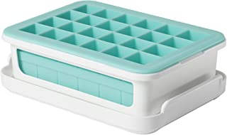 OXO 11154300 Good Grips Silicone Small Ice Cube Tray for Cocktails with Lid,Light Blue