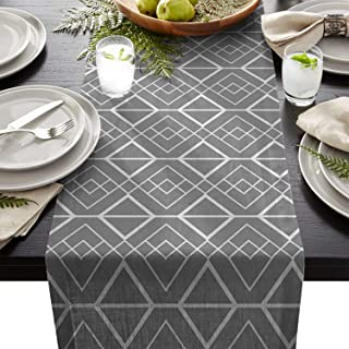 Beauty Decor Polyester Fabric Classic Natural Rectangle Lace Table Runners Rhombus Geometric Grey White, 13x90inch