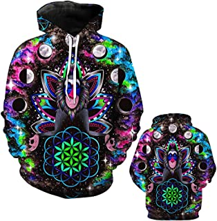 Unisex 3D Print Funny Creative Graphic Velvet Pullover,Holy Monkey Star Print Drawstring Hoodies with