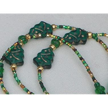 Beaded Eyeglass Chain Christmas Tree Accents Green Fancy Ends 28 inches