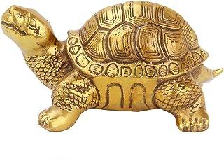Feng Shui Tortoise Statue for Good Luck, Brass Wealth Prosperity Animal Sculpture, Desk Home Indoor Outdoor Decorative Gif...