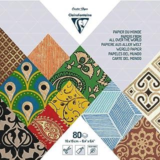 Clairefontaine 95217C - Un maxi-bloc de 80 feuilles de papiers du monde 16x16 cm, motifs assortis