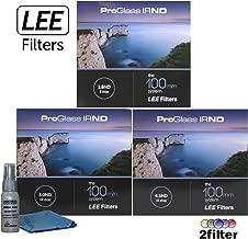 Lee Filters ProGlass 100mm IRND Premium 3 filter collection - Includes 100mm IRND 1.8 6-stop filter, 100mm IRND 3.0 10-stop filter, 100mm IRND 4.5 15-stop filter and 2filter cleaning kit