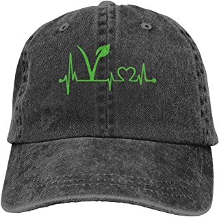 Women's Men's Adjustable Baseball Cap Vegan Vegetarian Heartbeat Hip Hop Hats