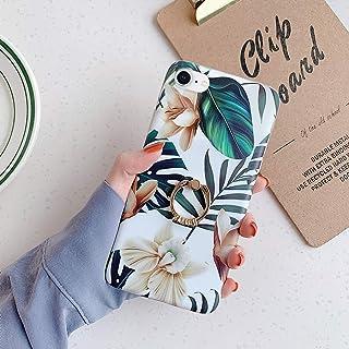 Surakey Compatibel voor iPhone 7/8 hoes,Siliconen bloem stijlvolle hoes bloemenhoes met ringhouder Ultra dunne zachte gel ...