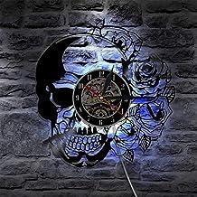 JT 7 Colores Reloj De Pared Control Remoto LED Ajustable Noche Luz Decoraciones Caseras,Black,12Inches