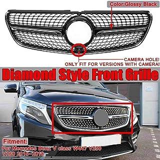 Negro DDDXF Parrilla Delantera GT GTR Grill Adecuado para Mercedes A Clase W176 A45 A180 A200 A260 2016-2018 Sin Emblema Negro