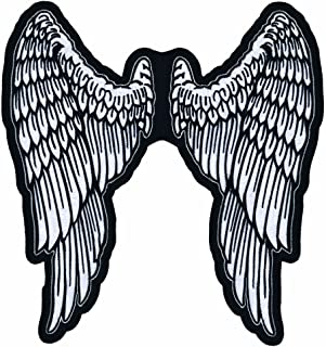 """Lethal Threat LT30159 Angel Wings Embroidered Patch (11"""" x 11.5"""") ,Black/White"""