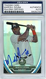 Marcell Ozuna Autographed Signed Baseball Trading Card Miami Marlins PSA/DNA #84092755
